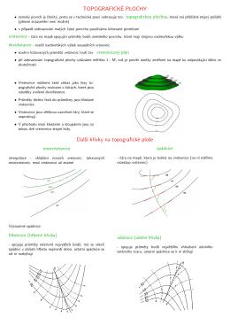 TOPOGRAFICKÉ PLOCHY Dalš´ı krivky na topografické ploše