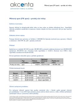 Měnový spot (FX spot) – prodej cizí měny