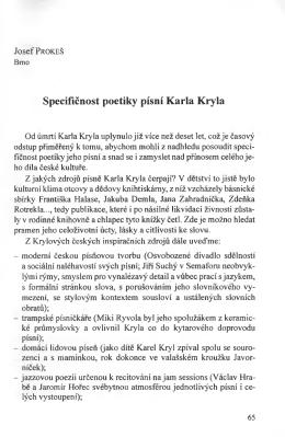 Specifićnost poetiky pisni Karla Kryla