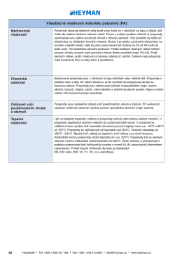 V‰eobecné vlastnosti materiálu polyamid (PA)