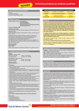 Technické požadavky pro dodávání podkladů