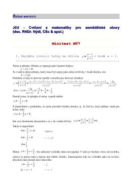 JčU - Cvičení z matematiky pro zemědělské obory (doc. RNDr. Nýdl