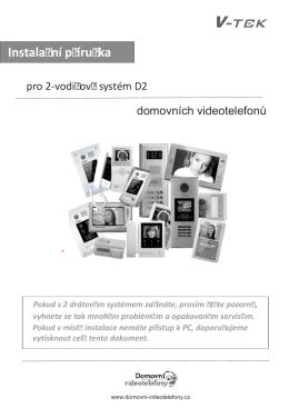 Instalační manuál - Domovní telefony a videotelefony