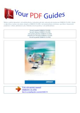 Uživatelská příručka OMRON CX-ONE