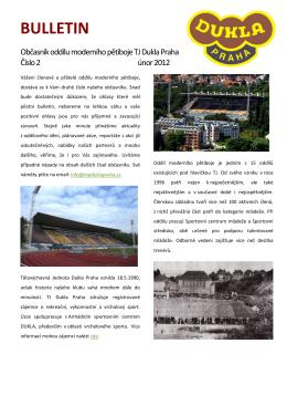 únorového čísla Bulletinu - Moderní pětiboj Dukla Praha