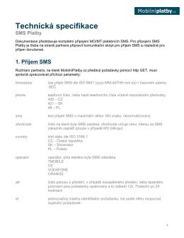Technická specifikace Premium SMS