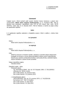 Usnesení o zápisu do Rejstříku spolků
