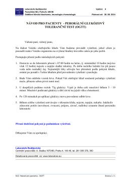 návod pro pacienty - perorální glukózový toleranční test (ogtt)