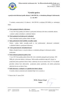 Výroční zpráva - Zdravotnická záchranná služba