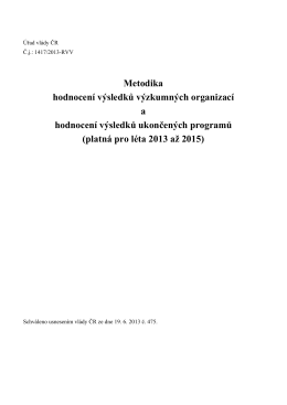 Metodika hodnocení výsledků výzkumných organizací a hodnocení