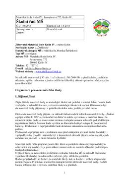 Školní řád 2014/2015 - Mateřská škola Čtyřlístek Kolín