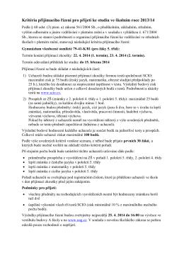 Kritéria přijímacího řízení pro přijetí ke studiu ve školním roce 2013/14