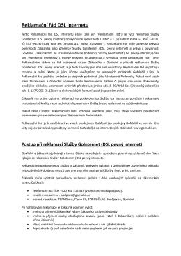 Reklamační řád služby GoInternet