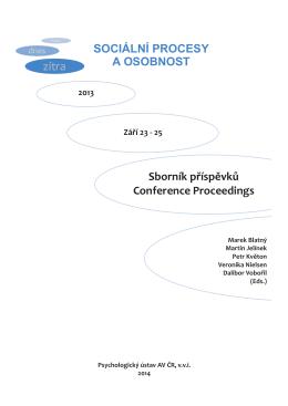 Sociální procesy a osobnost 2013 - Sborník příspěvků