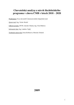 Chovatelská analýza a šlechtitelský program v chovu