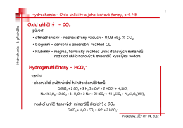 CO 2 a jeho iont. formy, pH, NK. Tlumivá kapacita