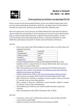 Zpráva o činnosti - Společnost pro klinickou neurofyziologii