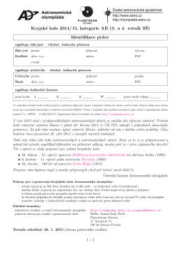 Krajské kolo 2014/15, kategorie AB (3. a 4. rocn´ık SŠ) Identifikace