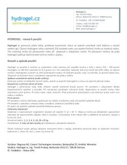 HYDROGEL -‐ návod k použití Rozsah a způsob