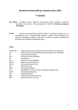 Nominační kritéria RDS (PDF)