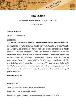 detailní program akce - Festival arabské kultury v Plzni