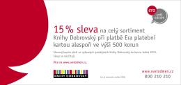 15 % slevana celý sortiment Knihy Dobrovský při platbě Era platební