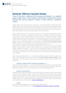 NetSuite CRM pro Sociální kliniku