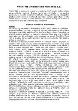 Vnitřní řád Orlickoústecké nemocnice, a.s.