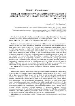 Referáty – Discussion paper PREDACE MEZI BROUKY VÁZANÝMI