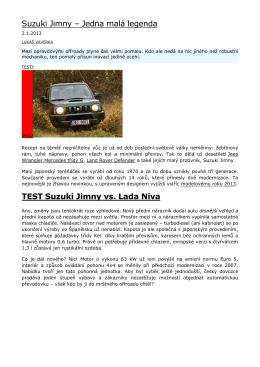 Suzuki Jimny – Jedna malá legenda TEST Suzuki Jimny vs. Lada Niva