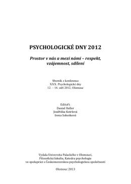 psychologické dny 2012 - Českomoravská psychologická společnost