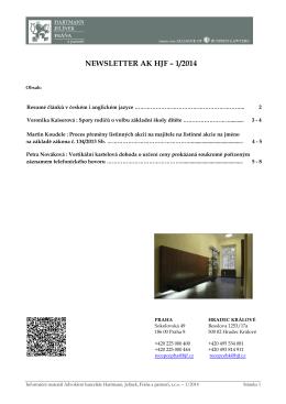 Newsletter I/2014 - Advokátní kancelář Hartmann, Jelínek, Fráňa a