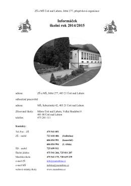 Informáček pro šk.rok 2014/2015
