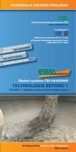 Pozvánka školení TECHBET 1 B5 - Česká betonářská společnost