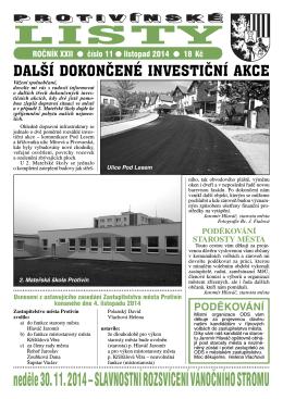 Protivínské listy 11/2014 (PDF, cca 2,8 MB)