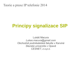 Principy signalizace SIP - Teorie a praxe telefonie