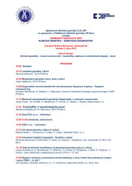 Program - Společnost lékařské genetiky ČLS JEP