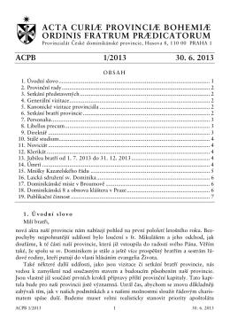 acta curiæ provinciæ bohemiæ ordinis fratrum prædicatorum