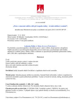 Práce s emocemi rodičů a - Informační středisko Mikuláš, o.p.s.