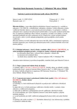 Poskytování informací podle zákona 106/1999Sb.