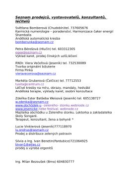 Seznam prodejců, vystavovatelů, konzultantů, léčitelů