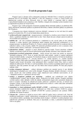 Uživatelský manuál ke sklad.programu LUPA