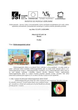 1 PRACOVNÍ LIST 20 Řešení Fyzika Téma: Elektromagnetické