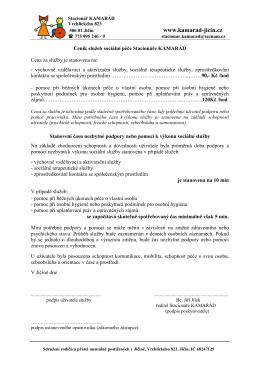 Ceník služeb sociální péče Stacionáře KAMARÁD