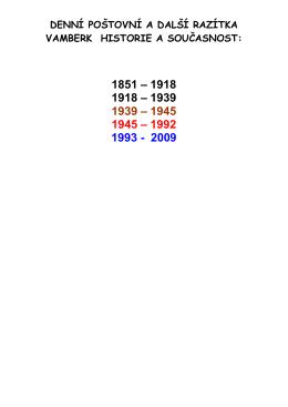 DENNÍ POŠTOVNÍ A DALŠÍ RAZÍTKA VAMBERK HISTORIE A