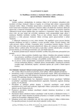 VLASTNOSTI VLÁKEN 14. Modifikace struktury a vlastností vláken a
