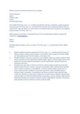 Žádost o konverzi standardních karet CS Link a Skylink: Jméno a