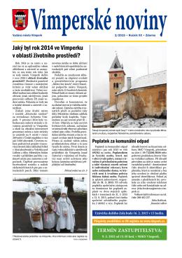 Jaký byl rok 2014 ve Vimperku v oblasti životního