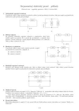 Stejnosmerný elektrický proud – pr´ıklady