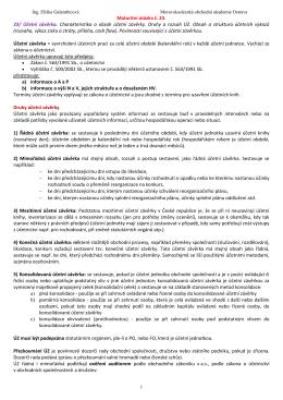 Maturitní otázka č. 23. 23/ Účetní závěrka. Charakteristika a obsah